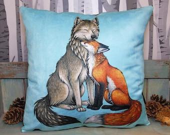 Wolf & Fox Couple Illustration Vegan Throw Pillow - Faux Suede 45 x 45cm