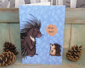 A5 Nice Hair - Hedgehog & Porcupine Illustration Journal ~ Notebook with 48 Lined Pages