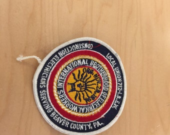 vintage union patch ,1970's, construction electricians,local union 712,new old stock
