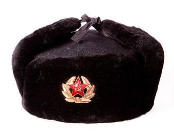 Russian hat ushanka, fur trapper hat, winter hat with ear flaps, soviet hat, army hat