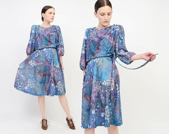 Vintage 70s Floral Secretary Dress - Impressionist Print Blouson Cocktail Dress - Knee Length Boho Midi Dress - Blue Purple Medium Large M L