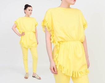 Deadstock Vintage 80s Pantsuit - Yellow T-shirt - Boho Fringe Shirt - High Waist Leggings - Yellow Pants - Two Piece Set - size S M NOS