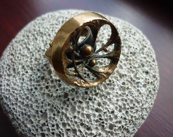Modernist Mid Century Bronze Ring Sten and Laine Finland Spider Web Design 70's
