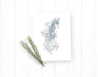 Leafy Sea Dragon Note Card, Nautical Greeting Card, Sea Animal Note Card, Blank Greeting Card, Note Card A2