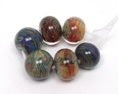 Artisan lampwork beads  -  Cosmic Eclectics  -  blue, green, red, purple, rust, raku frit, loose glass beads, organic lampwork bead