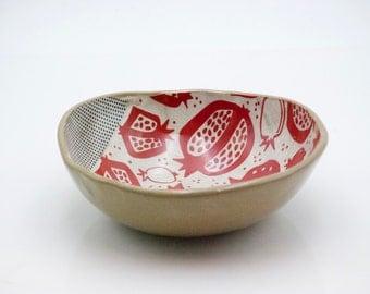 Ceramic bowl - housewarming gift - pomegranate print - unique salad bowl - Pottery bowl - Handmade pottery - Fruit bowl -