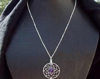 ON SALE DREAM In Purple  Silver Dreamcatcher with amethyst, dreamcatcher necklace, amethyst necklace, silver amethyst dream catcher necklace