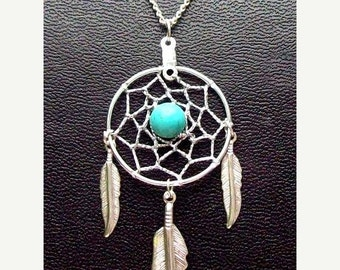 ON SALE Dream catcher necklace in silver with turquoise and 1-inch dream web & three feathers