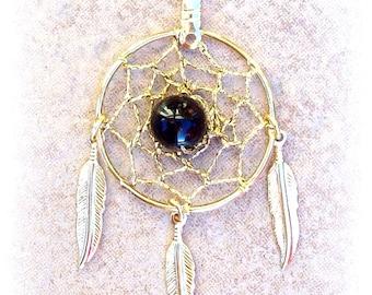 ECLIPSE Necklace - gold dream catcher necklace w/ Black onyx, black onyx necklace, dreamcatcher necklace, gold dream catcher necklac