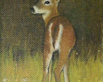 Mixed media original painting DEER in meadow 3 x 4 1/2 in