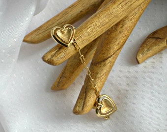 Chatelaine Heart Brooches Hat Tie Lapel Pins Vintage Jewelry