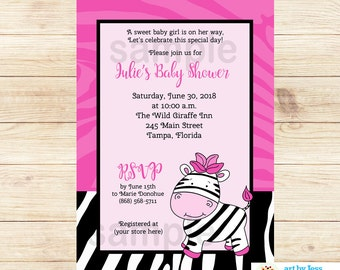 Pink Zebra Stripe with Pink Zebra Girl Baby Shower Invitations, Printable or Printed Invitations