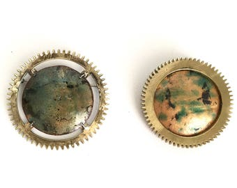 Enameled Brooches/Clock Gear Brooches/Enameled Copper Pins