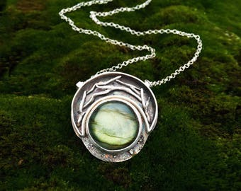 Crescent Moon Shaped Shadow Box with Twigs and Labradorite Moonstone - Rustic Style Necklace -  Hand Sculpted in Fine Silver - Ready to Ship