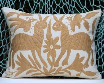 Tan Folk Art Pillow Sham-Otomi Embroidery Ready to ship.