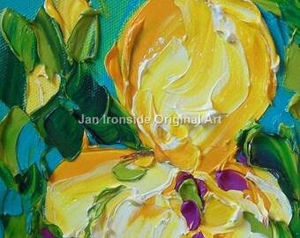 Iris Oil Painting, Yellow Iris , Hostess Gift , Art, Original Painting,  home decor , original artwork ,