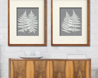 Fern Fantasy Impressions (Series C2) Set of 2 - Art Prints (Featured in Grey) Nature Woodland Inspired