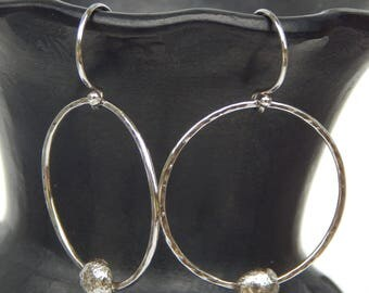 Sterling Silver Pebble Hoop Earrings