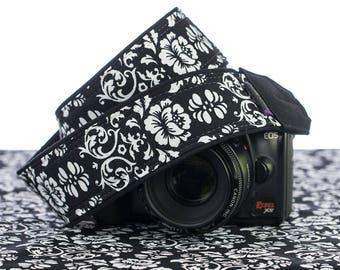 dSLR Camera Strap, Black & White Floral Damask,Camera Neck Strap, Pocket, Canon or Nikon Strap, SLR, 021
