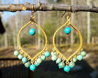 Gold and Turquoise Bohemian Luxe Earrings ~ Trendy Gypsy Style