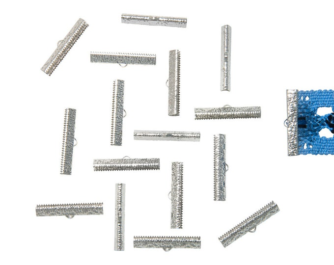 150pcs.  35mm (1 3/8 inch)  Platinum Silver Ribbon Clamp End Crimps - Artisan Series