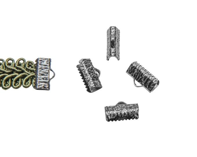 16 pieces  13mm  (1/2 inch)  Gunmetal Ribbon Clamp End Crimps- Artisan Series