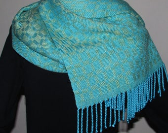 Shawl/scarf Handwoven Tencel Turned Twill Turquoise/lime