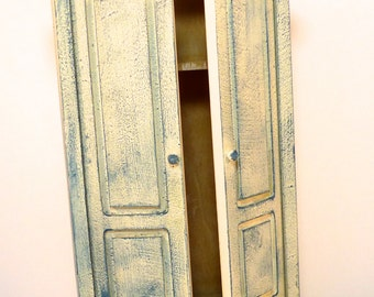 Shabby Chic Painted WARDROBE ARMOIR cream blue  dolls house furniture bedroom living room 12th scale miniature on sale
