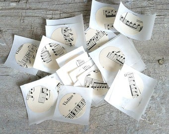 vintage music stickers; vintage music envelope seals