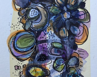 Original Expressionist Art Painting Fine art mixed media abstract  floral collage