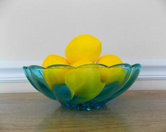Blue Glass Bowl, Capri Swirl,Seashell Swirl, 1960s, Mid Century, Decorative Bowl, Fruit Bowl, Hazel Atlas, Hazel Ware, Aqua Blue, Kitchen