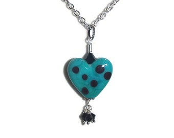 Lampwork Heart Necklace Glass Heart Necklace Heart and Dangles Necklace