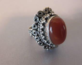 Vintage Sterling Carnelian Ring,  Size 9