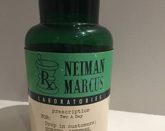 Vintage green large apothecary bottle pill medicine Neiman Marcus Rx Dallas TX