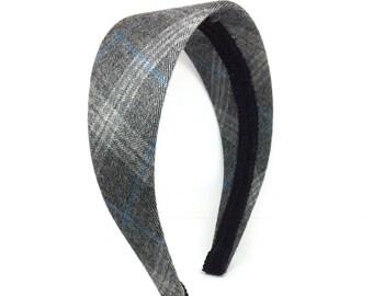 Extra Wide Wool Plaid Headband - Black, Gray, Light Blue - Preppy Plaid School Headbands for Girls and Adults - Blair Waldorf Headbands