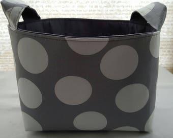 Fabric Organizer Basket Storage Container  Bin Caddy - Large Polka Dots Gray