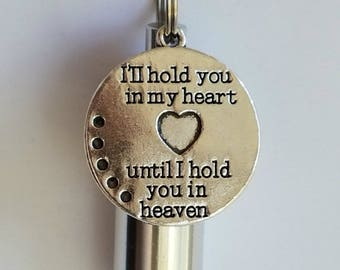 "Personal CREMATION URN NECKLACE with ""I'll hold you in my heart, until I hold you in Heaven"" Charm - with Velvet Pouch, Ball Chain, Fill Kit"