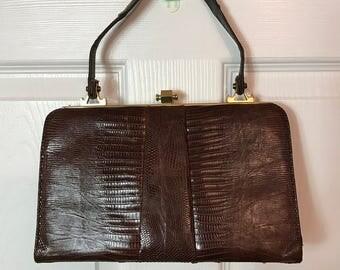 Vintage 50s Brown Reptile Handbag