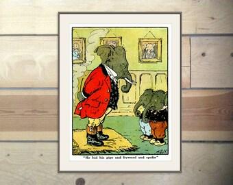 Elephants in Trouble, Antique Nursery Decor Print, 1900's Jumbo Book Page 57, Harry Neilson, Anthropomorphic Kids Bedroom Decor, Nursery Art
