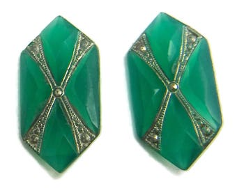 Art Deco Glass Cabochon Faceted Rare Vintage Jade Markasite Stones  2 pcs S-423