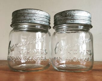 Pair of Vintage Canadian Jewel Mason Jars. Pint Sized. Wedding, Floral, Farmhouse Decor.