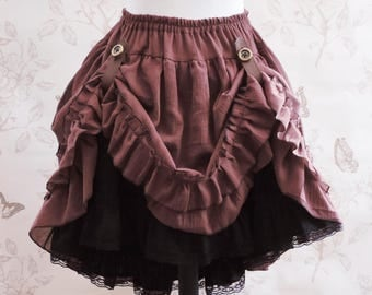 Brown steampunk skirt,brown black skirt ,  bustle skirt ,embroidered skirt, steampunk clothing, pirate, saloon, western skirt, country