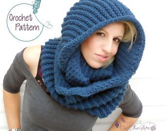 Crochet cowl pattern for women, PDF, crochet scarf pattern, crochet Instant download, cable cowl, hooded scarf, hooded cowl, crochet fashion