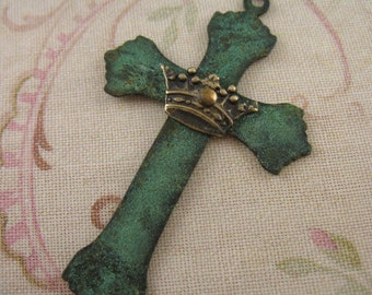Cross Blue Patina Cross with Crown Rosary Supplies Religious Jewelry Pendants Brass Stampings M10