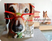 Dad Fathers Day Dachshund Card Red Glasses