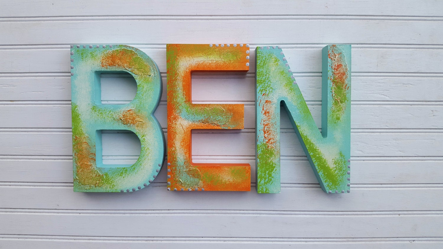 Rustic Wall Letters Block Font Kids Name Name Wall