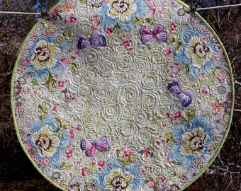 MarveLes SPRING Blooms and Apple Blossoms  Green Reversible Floral Large Round Custom Quilted Table Topper Runner Pink Blue