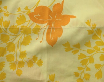 Vintage yellow floral flowers butterfly butterflies king size pillowcase. Vintage linens.