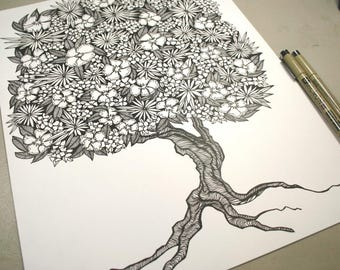 Original Art . Pen Drawing . Black and White Art . Flower Tree Drawing . Tree Illustration