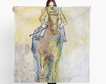 Limited Edition Scarf, Large scarf, Equestrian Scarf, Equestrian Style, Equestrian art, Horse painting scarf, RaceHorse